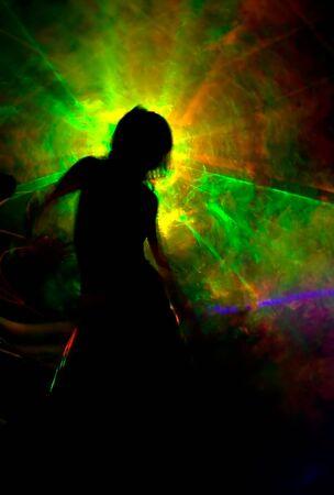 Silhouette in color smoke Stock Photo