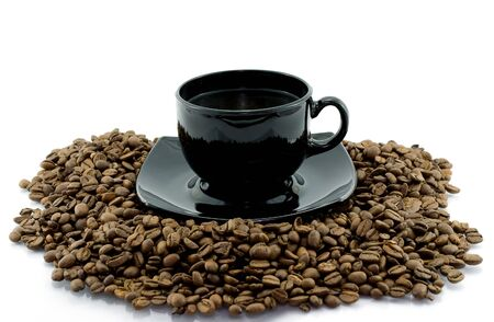 Cup and coffee beens Stock Photo