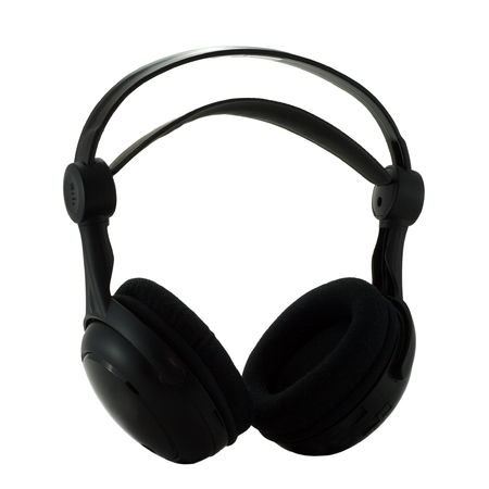 Black wireless headphones isolated on white background