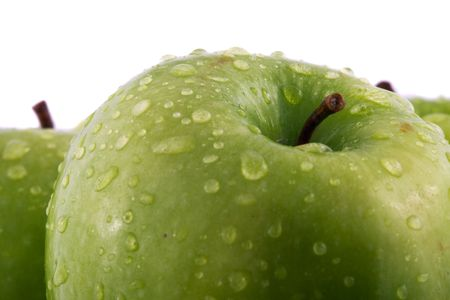 Waterdrops on green apple Stock Photo - 4852957