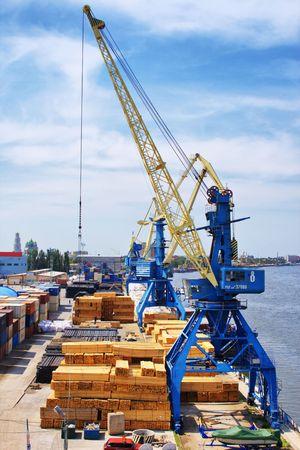 Cranes in central cargo port