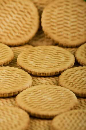 Scattering of sweet milk cookies Stock Photo