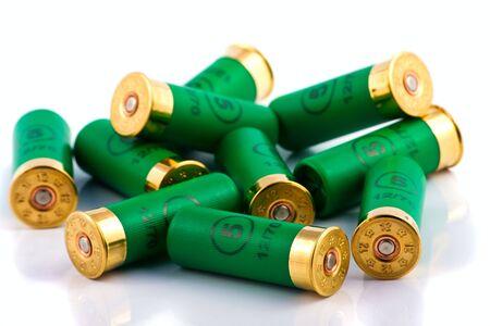 Heap of hunting cartridges for shotgun 12 caliber