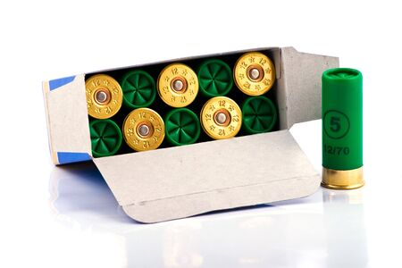 caliber: Hunting cartridges for shotgun 12 caliber in a box Stock Photo