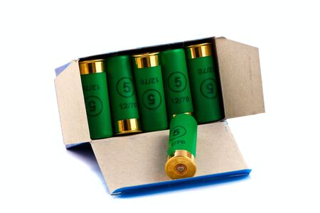 Hunting cartridges for shotgun 12 caliber in a box Stock Photo
