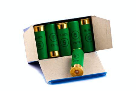 Hunting cartridges for shotgun 12 caliber in a box Stock Photo