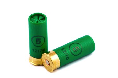 Two hunting cartridges for shotgun 12 caliber Stock Photo