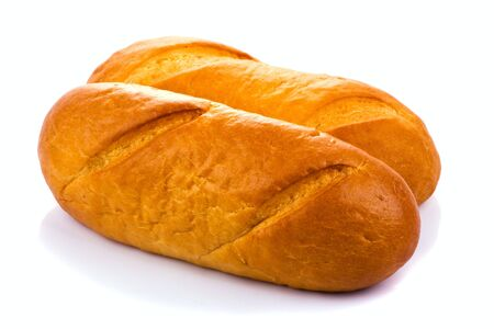 Bread on white background Stock Photo