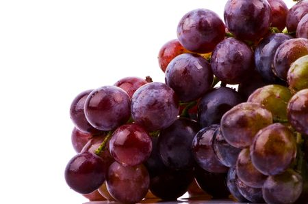 Grapes on white background closeup