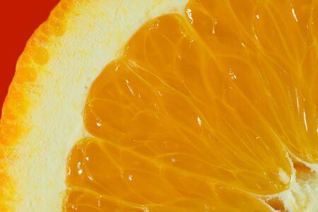 Cut slice of orange close-up