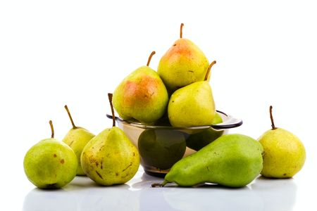 Pears in bowl on white background Stock Photo