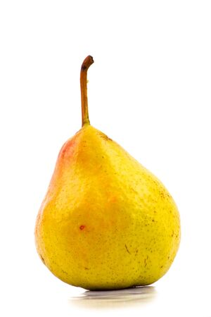 One yellow pear isolated on white