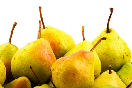 Heap of pears on white background