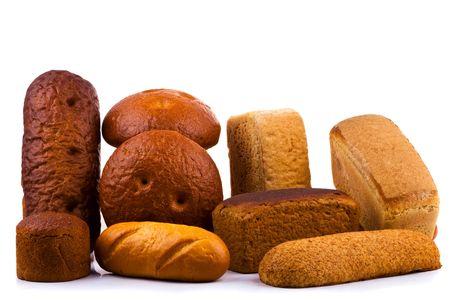 Bread on white background Stock Photo