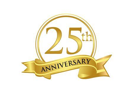 25th Anniversary celebration logo vector Stock Illustratie