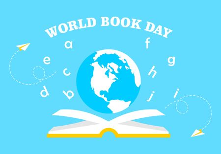 World book day logo vector Illustration