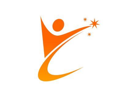 Success coaching people logo vector Illusztráció