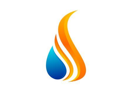 Vecteur de logo de feu, de flamme, de pétrole et de gaz