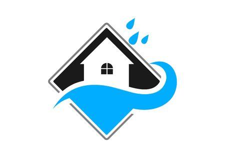 Waterproofing, water drop logo vector Illustration