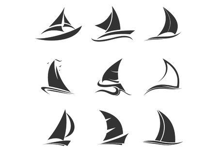 Set of sailing ship, sailing boat, sailboat, sail, ship, clipper logo