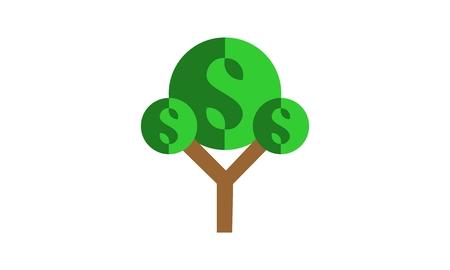 Money, tree dollar logo vector Ilustracja