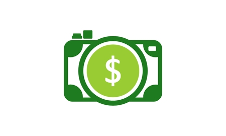 Money, camera dollar logo vector