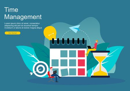 Web page time management and procrastination concept. planning and strategy for business banner