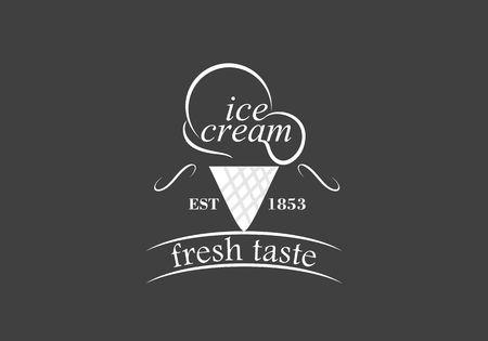 Vintage retro ice cream label emblem design