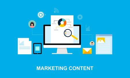 Logo dell'illustrazione del sistema di marketing dei contenuti di design piatto Logo