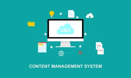 Flat design content marketing system illustration logo Logó