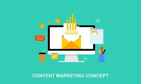 Business Blogging, Commercial Blog posting, Internet Blogging service flat design vector illustration with icons Ilustração