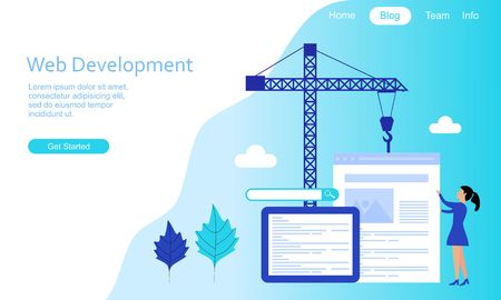 Flat design web development illustration