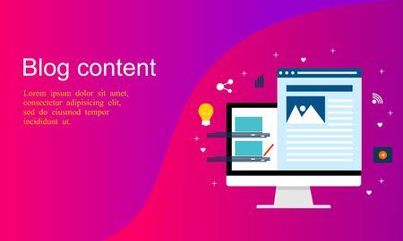 Business Blogging, Commercial Blog posting, Internet Blogging service flat design vector illustration with icons Illustration