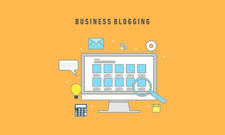 Business Blogging, Commercial Blog posting, Internet Blogging service flat design vector illustration with icons Vettoriali