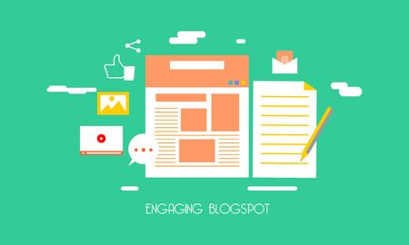 Business-Blogging, kommerzielle Blog-Posting, Internet-Blogging-Service-flaches Design-Vektor-Illustration mit Symbolen