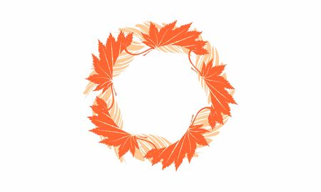 Hello autumn, leaf maple logo