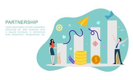 Idée de concept de relation de partenariat commercial avec un caractère minuscule. modèle de partenariat de travail d'équipe pour la page de destination Web, la bannière, la présentation, la maquette, les médias sociaux. Illustration vectorielle