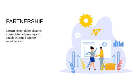 Business partnership relation concept idea with tiny people character. team working partner together template for web landing page, banner, presentation, mockup, social media. Vector illustration Иллюстрация