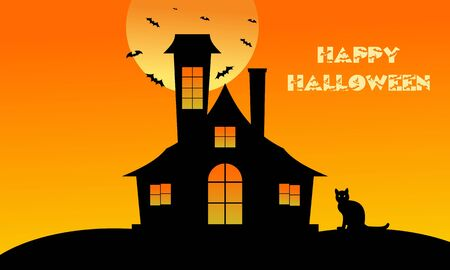 Halloween Fullmoon Banner, Witch, Haunted House, Pumpkins and Bats. Illustration