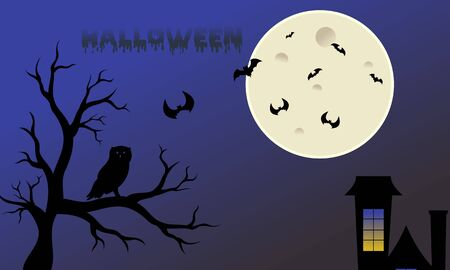 Halloween Fullmoon Banner, Witch, Haunted House, Pumpkins and Bats. Stock Illustratie