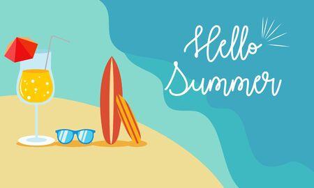 Hello beach, hello summer concept. Vector illustration with the beach and ocean waves