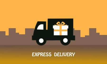 Delivery logo fast shipping, delivery service logo Foto de archivo - 129793337