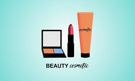 Makeup courses vector logo. Illustration of cosmetics