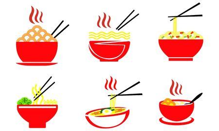 Nourriture de nouilles, vecteur de bol de nouilles