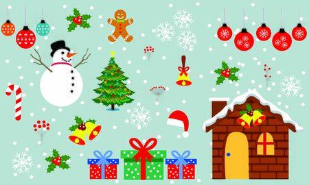 Merry christmas and christmas gift vector. Background illustration Ilustração Vetorial
