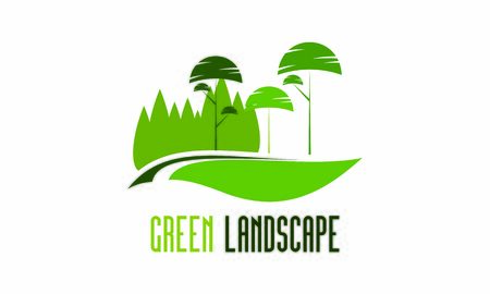 Green nature landscape and gardening company vector Illustration