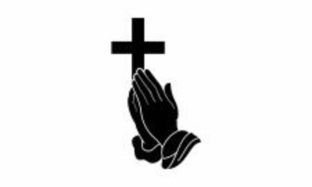 Mano rezando sosteniendo la cruz. Religión, iglesia, vector