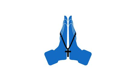 Praying hand holding cross. Religion, Church vector