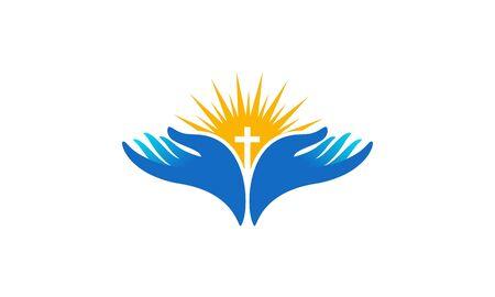 Biddende hand met kruis. Religie, kerk vector
