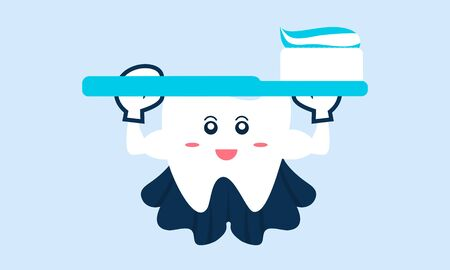 Dental mascot, tooth mascot dental logo design vector